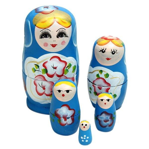 ABWE Best Sale 5x Matroshka Babuschka Matryoshka Matushka Matyoshka Russian  Wooden Doll Color: Blue(