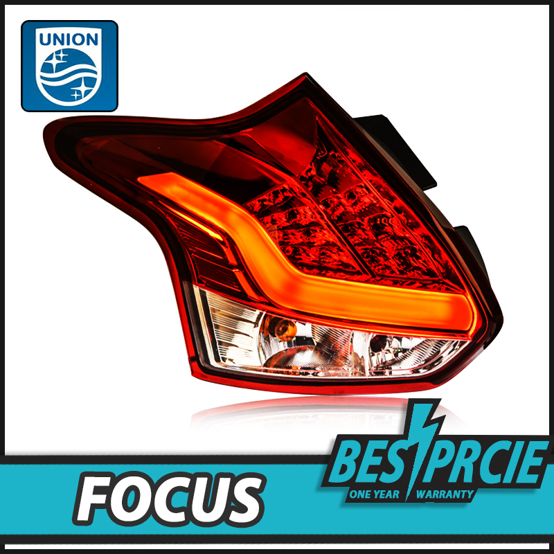UNION Car Styling for Ford Focus 2 Taillights 2012-2014 Focus Hatchback LED Tail Lamp Rear Lamp DRL+Brake+Park+Signal led light high quality chrome tail light cover for ford focus mk3 hatchback 12 13 free shipping