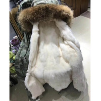 2018 парка серебро зимняя куртка Для женщин Настоящее мех пальто большой натуральный мех енота меховой воротник с капюшоном кролика парки те