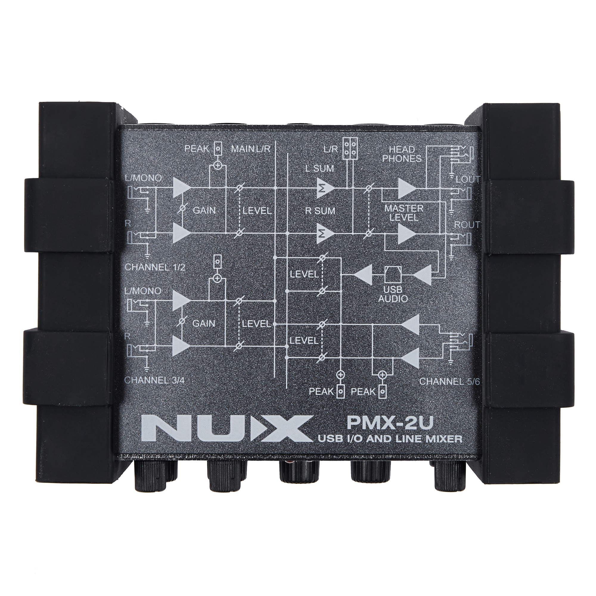 NUX PMX-2U USB I/O Line Mixer Music Instrument Device 6 Inputs 2 Outputs USB Audio Interface Guitar Bass Accessories nux pmx 2 new multi channel line mixer overload indicator 8 in 2 out mixer fit several audio devices for electric guitar bass
