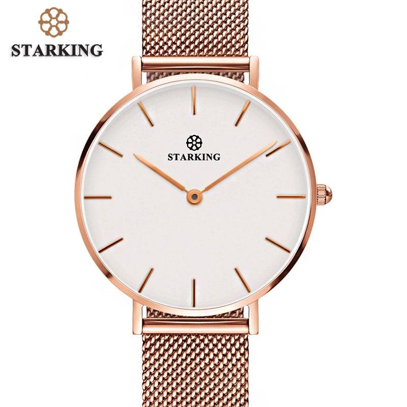 купить STARKING Women Watches Rose Gold Stainless Steel Bracelet Quartz Female Minimalist Watch 2017 Fashion Casual Ladies Dress Watch по цене 1346.35 рублей