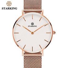 STARKING Women Watches Rose Gold Stainless Steel Bracelet Quartz Female Minimalist Watch 2017 Fashion Casual Ladies Dress Watch