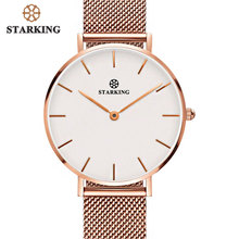 STARKING Women Watches Rose Gold Stainless Steel Bracelet Quartz Female Minimalist Watch 2017 Fashion Casual Ladies Dress Watch