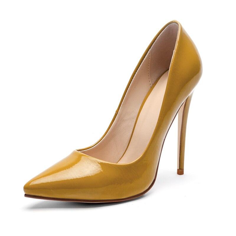 Cuir Sexy En Profonde Pompes Talons Haute Chaussures Noir Mode vert Verni De pourpre jaune Stilettos Mince Partie Pointu on Bout Dame blanc Slip Femmes Peu Mariage Super rose x6IqwAq