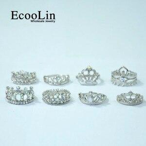 Image 5 - Anillo de circonia brillante para mujer, 50 Uds., corona real, joyería de compromiso para mujer, lote de paquetes LR4024