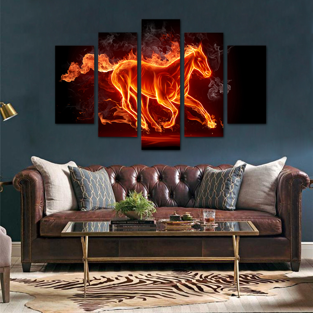 Unframed HD Print 5 Canvas Art Painting Fire Horse Living Room Decoration Spray Painting Mural Unframed Free Shipping