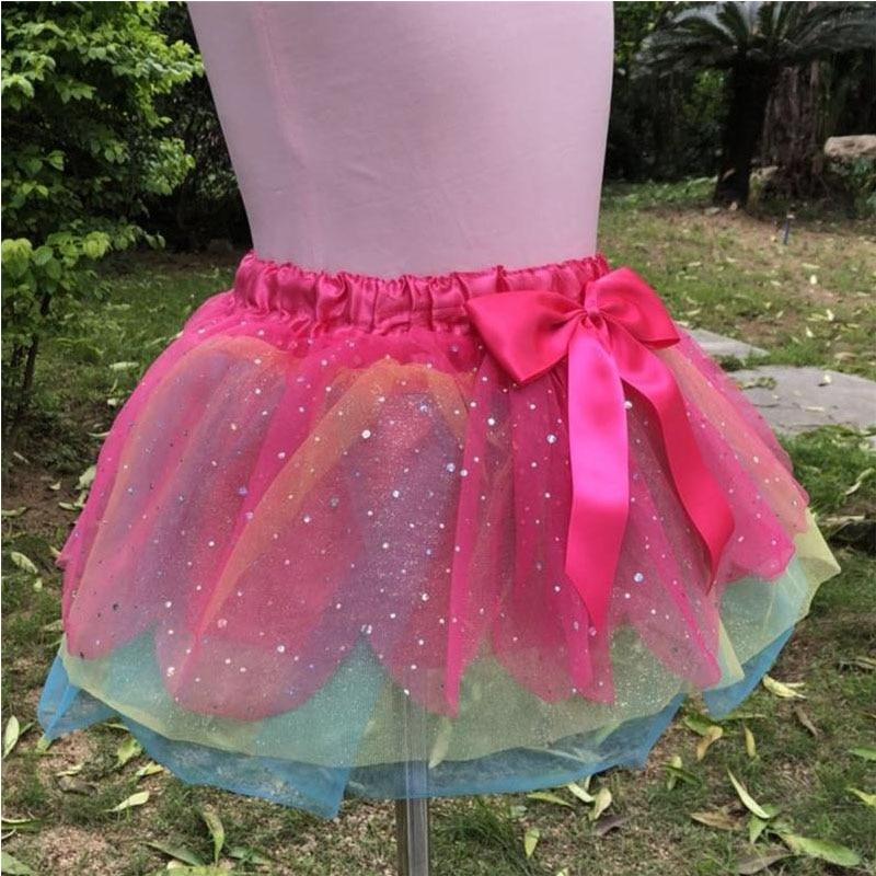 Women Kids Girl Rainbow Princess Party Dancewear Tutu Skirt Ballet Latin Dress