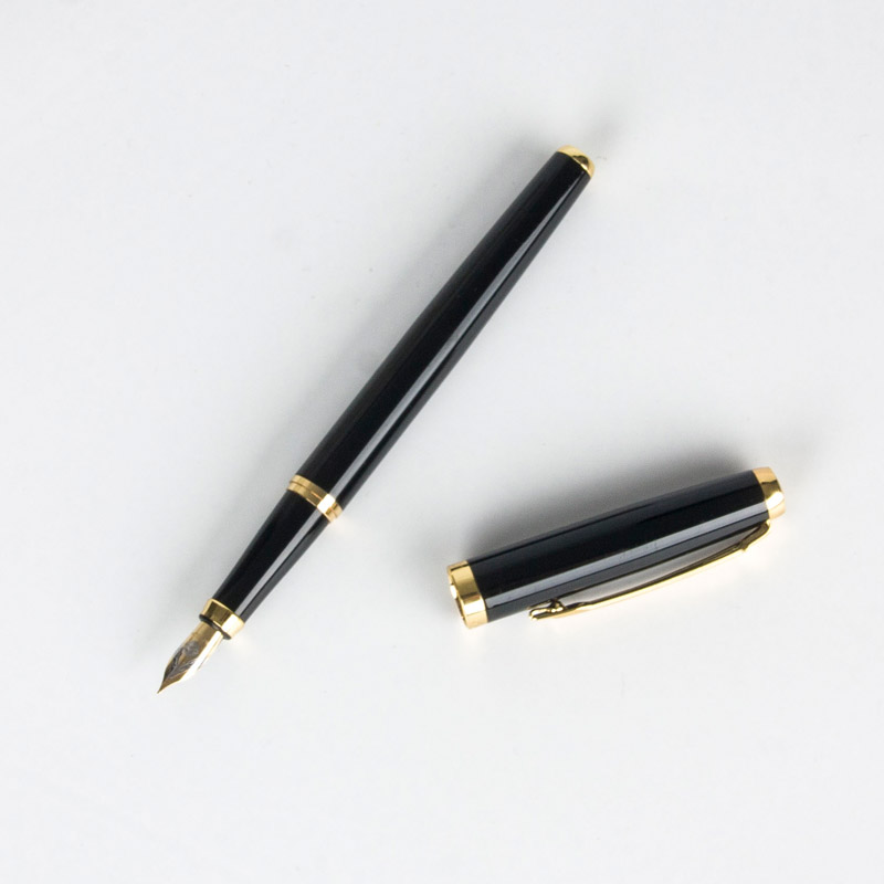 High quality Black blue Extra Fine Nib 0.5 Fountain Pen Luxury Metal Ink Pens for Gift Office Supplies Writing Stationery