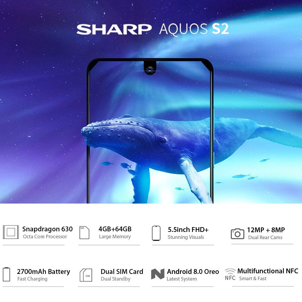 HTB1FnGfR3HqK1RjSZJnq6zNLpXaN Global Version Sharp AQUOS S2 C10 4GB+64GB 5.5inch FHD+ Android8.0 Octa Core 12MP+8MP NFC Fingerprint 4G Smartphone