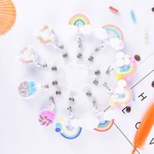 1PCS Cute Lollipop rainbow Retractable Badge reel ID Card Clip Little Tag Holder Reel For