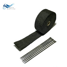 5 m x 50 mm Black Exhaust Wrap Auto Muffler Manifold Heat Shield Motorcycle Pipe Tape With Locking Ties