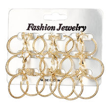 MissCyCy Mixed Size Circle Hoop Earrings Set For Women Brincos Round Gold Silver Color Earring Party Jewelry 9 pair/lot(China)