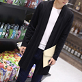 Autumn new fashion sweater men medium-long pull homme male solid slim cardigan long mens cardigans trench coat plus size 5xl
