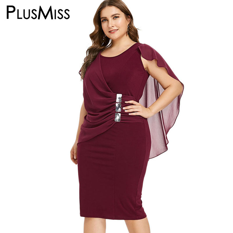 PlusMiss Plus La Taille Strass Élégant Parti Robes 5XL Femmes Crayon Midi Robe Bureau Dames Grande Taille Noir Rouge XXXXL XXXL XXL
