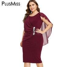 PlusMiss Plus Size Rhinestone Elegante da Festa Vestidos 5XL Mulheres Lápis Midi Vestido Escritório Ladies Big Size XXXXL XXXL Preto Vermelho XXL