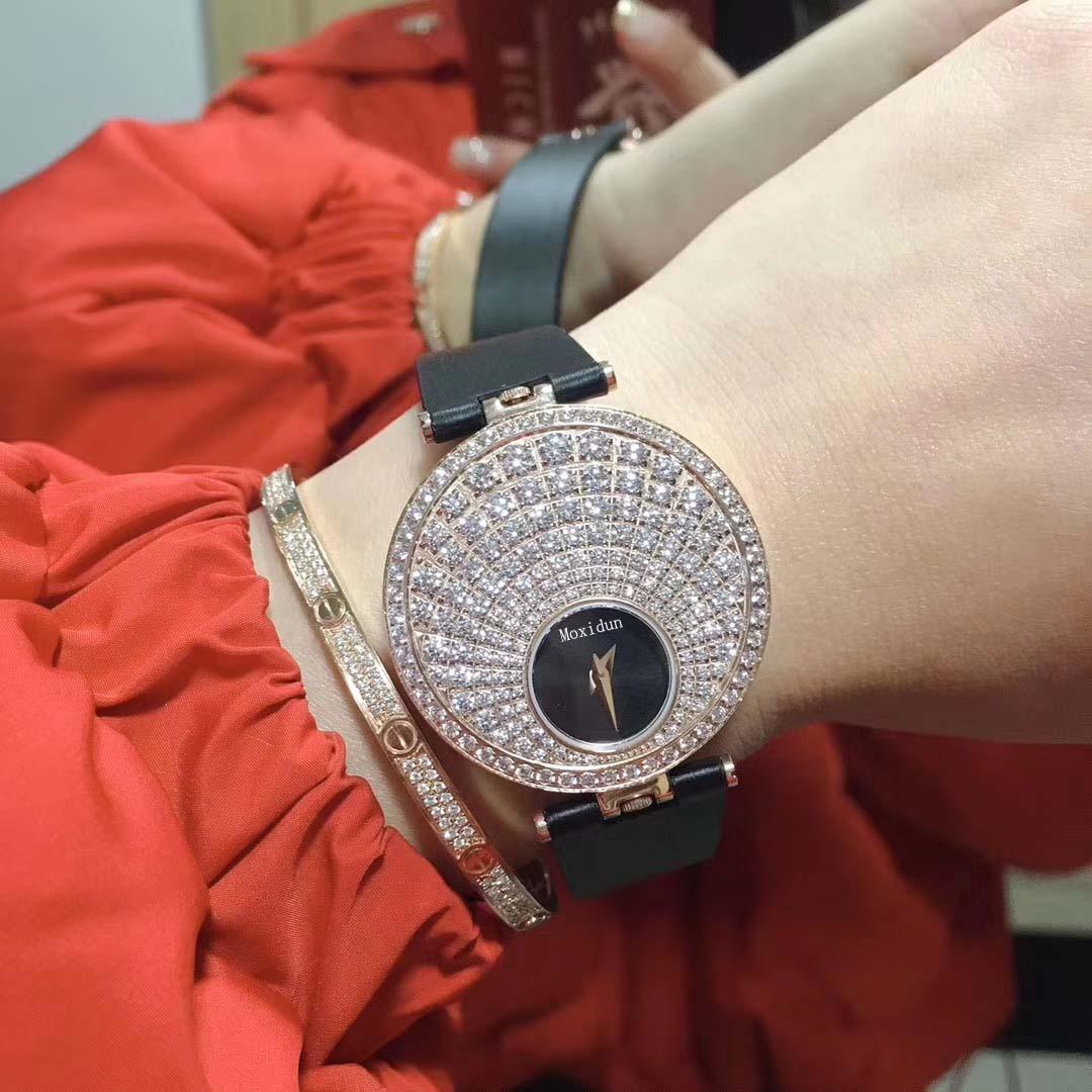 Double face cadran tournant noir bracelet en cuir véritable 5A zircon 35mm cadran rond montre-bracelet à Quartz cadeau montre horloge pour les femmes