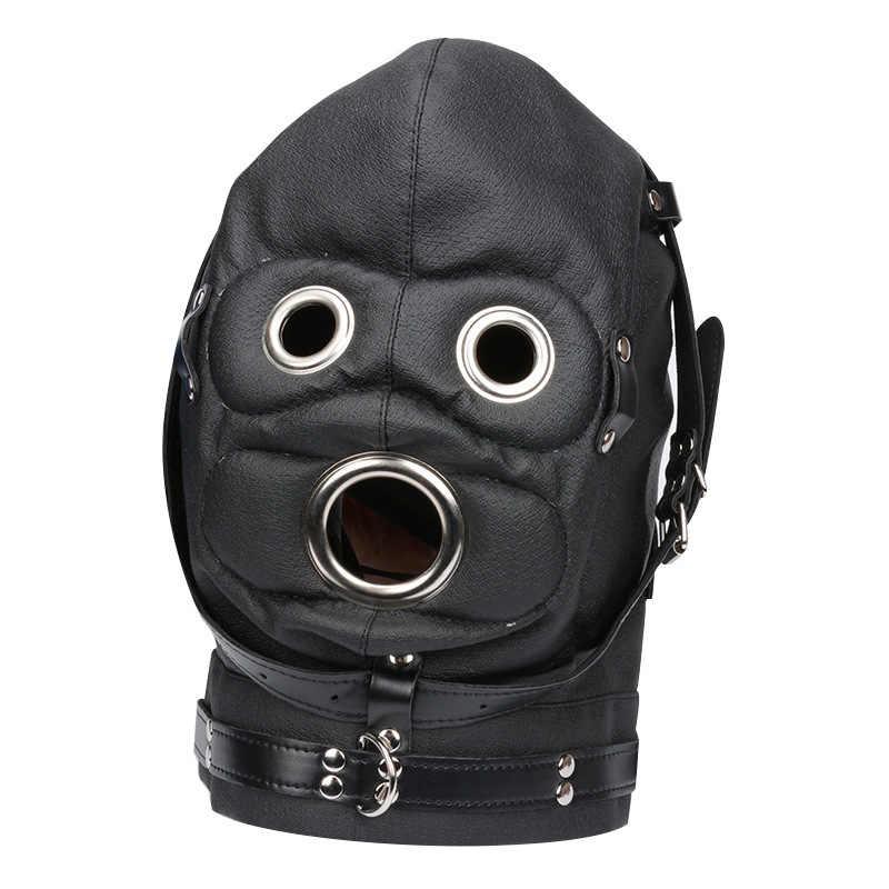 女性エキゾチックセットでオープン口ペニスギャグヘッドフェチボンデージ拘束puレザーゲームマスク大人のおもちゃカップル