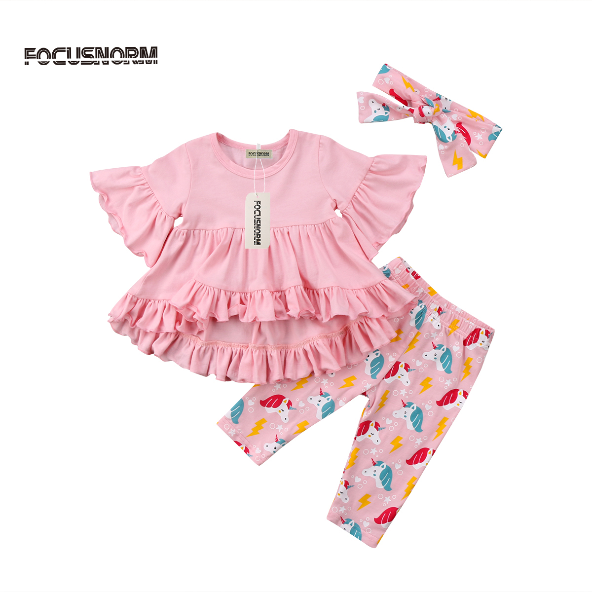 3pcs Kids Baby Girls Ruffle Dress Tops T shirt+Unicorn Long Pants 2Pcs Cartoon Outfits Set Party Clothes 2pcs children outfit clothes kids baby girl off shoulder cotton ruffled sleeve tops striped t shirt blue denim jeans sunsuit set