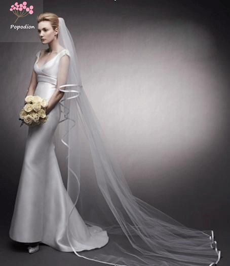 Wedding Long Veil 3 Meters  Wedding Veil  Bridal Veils Mesh Veils For Bride With Comb WAS10044