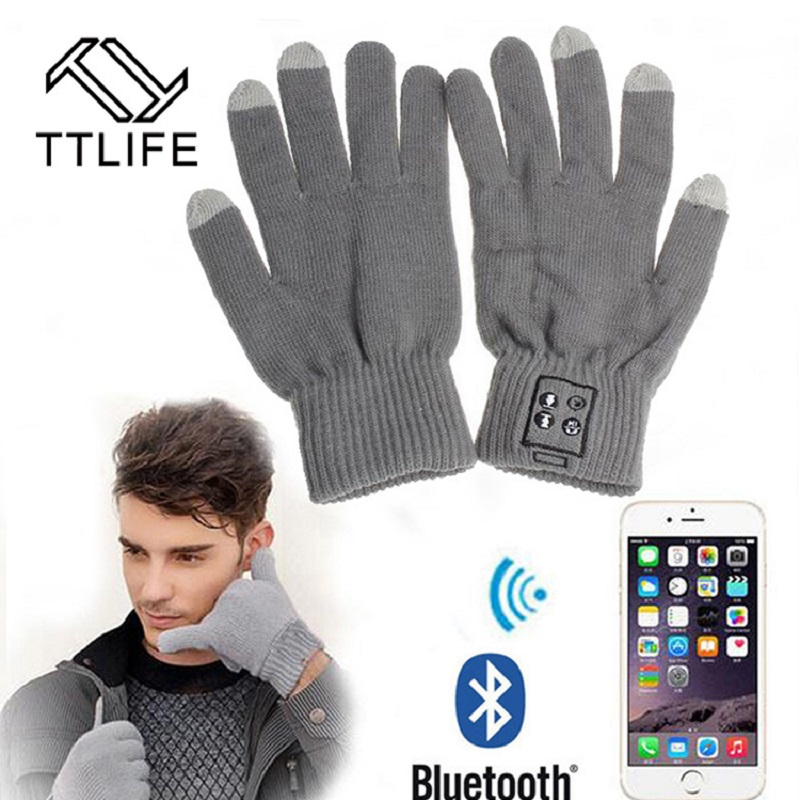 купить TTLIFE Winter Gloves Bluetooth Headphones Wireless Touch Screen Mobile Headset with Mic Gloves Speaker Auriculares for Xiaomi дешево