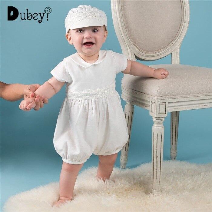 Nouveau-né bébé garçon baptême tenue barboteuse blanc combinaison + chapeau 2 pièces bambin garçon barboteuse nouveau-né bébé garçon Onesie vêtements