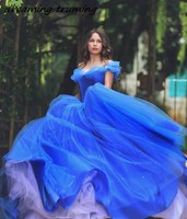 Royal Blue Quinceanera Dresses 2019 Beaded Crystals Tulle Cheap Off The Shoulder Debutante Gown Ball Gown