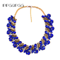 New Women Fashion Jewellery Vintage Gold Plated Crystal Leaf Collar Necklaces Big Chunky Rhinestone Choker Bib Necklace