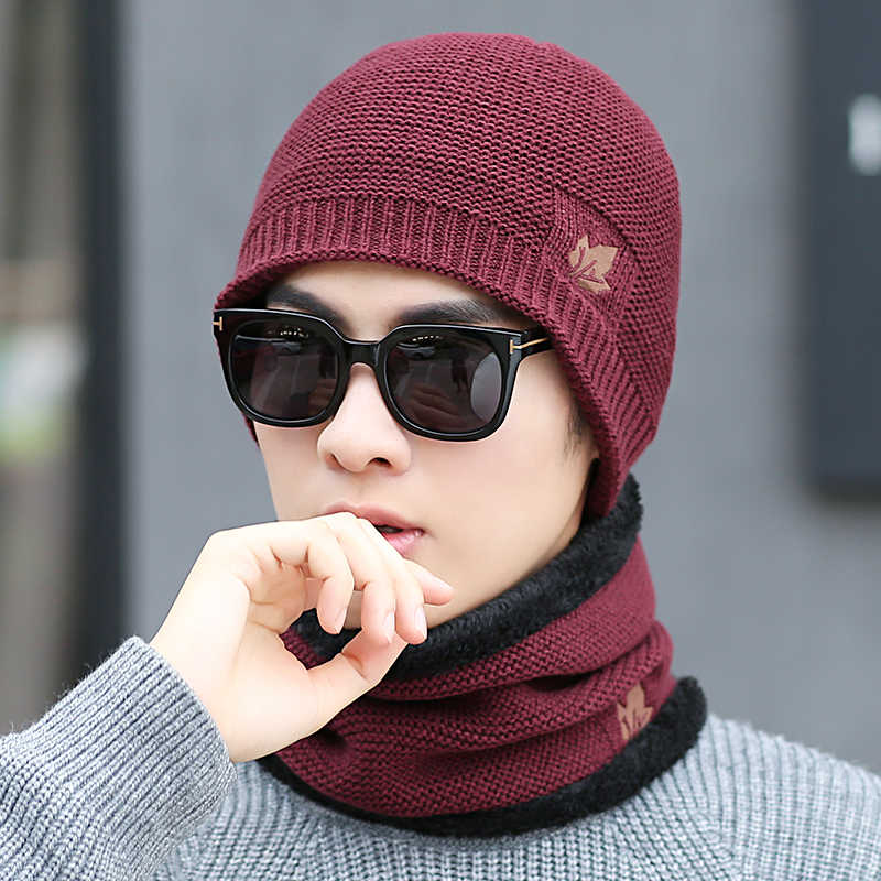 9c81223e732 ... Winter warm men s knit hats scarf warm and comfortable velvet thick ski  mask caps solid color ...