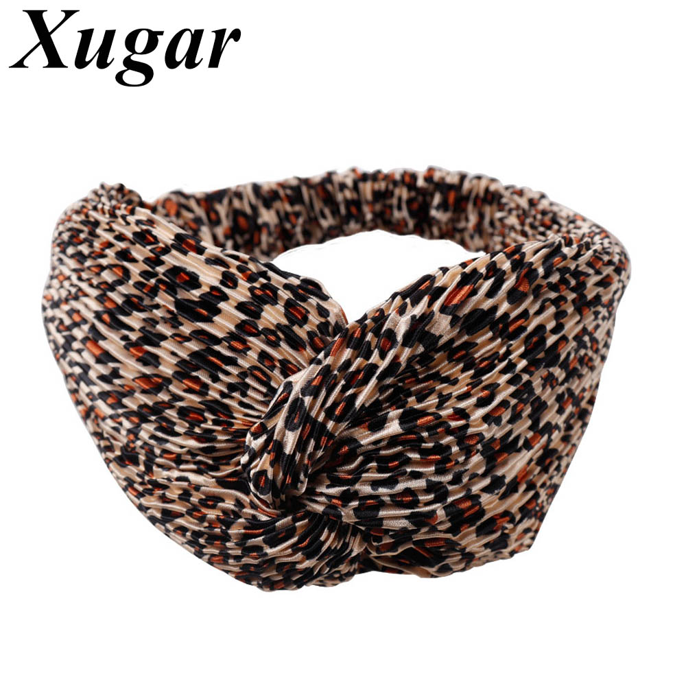 Leopard Cross Headband for Women Turban Hairband Stretch Twisted Knotted Hair Band Headwear Head Band Hair Accessories
