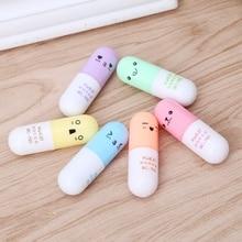 6PCS/Set 6 Colors Mini Pill Shaped Highlighter Pens for Cute Smiling Face Graffiti Korean Stationery