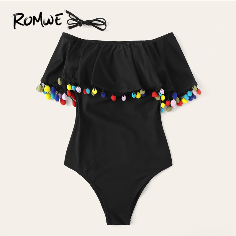 Romwe One-Piece Swimsuit Monokinis-Wire Black Off-The-Shoulder Sport Women Summer Free