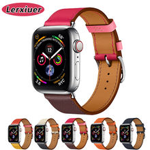 Leather strap for apple watch 4 band 44mm 40mm 42mm 38mm bracelet wrist belt Iwatch series 4/3/2/1 single tour watchband цена