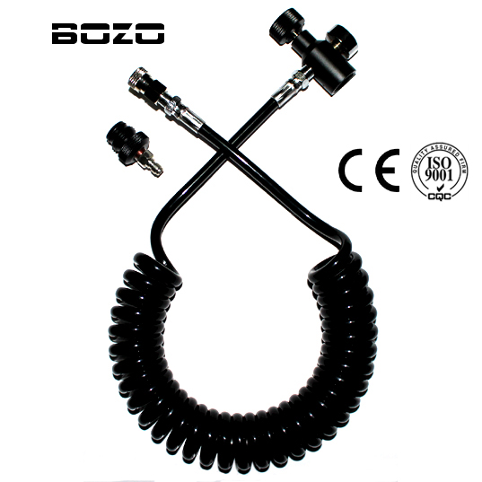 Coil Remote Hose Thick Line 3.5M & 1500psi Gauge Without Slide Check With Quick Disconnect Part (BLACK) Paintball New