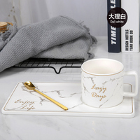 Gold Inlay Marble Coffee Cup with Spoon and Saucer Ceramic Afternoon Tea Cup Dish Plates INS Fashion Milk Mug Drop Shipping