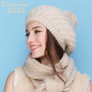 Image 3 - צ ארלס Perra נשים כובע צעיף סטי סתיו חורף חדש סרוג כובעי אופנה אלגנטי מזדמן כומתה חמה סגנון נקבה בימס 2321