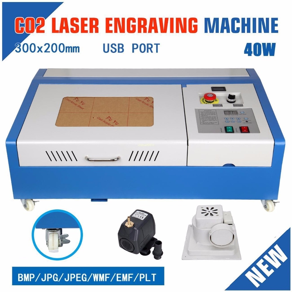 4 Wheels 40W CO2 Laser Engraving Engraver Cutting Machine USB Port