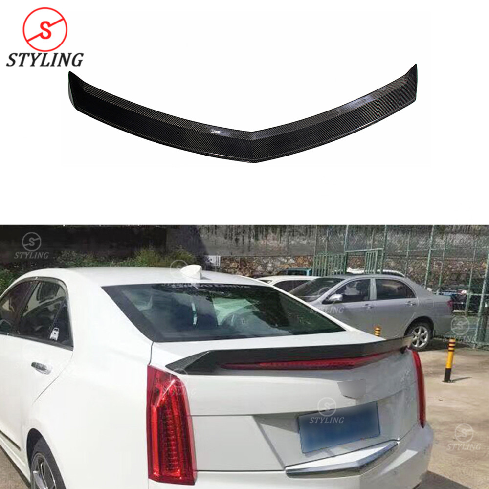 Tt Style Carbon Fiber Rear Spoiler For 2015 2019: Carbon Fiber Spoiler Wing V Style For Cadillac ATS 2015