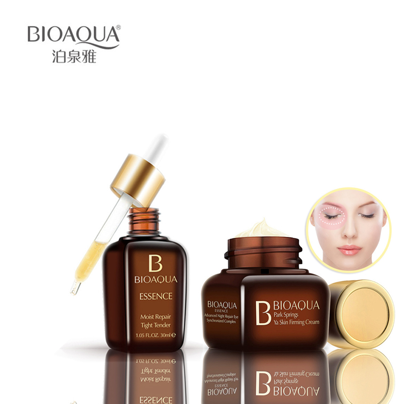 2 pcs BIOAQUA Face Set Moisturizing Eye Cream +Facial Beauty moist Repair Essence  The Most Beautiful Set For Women 2018 New