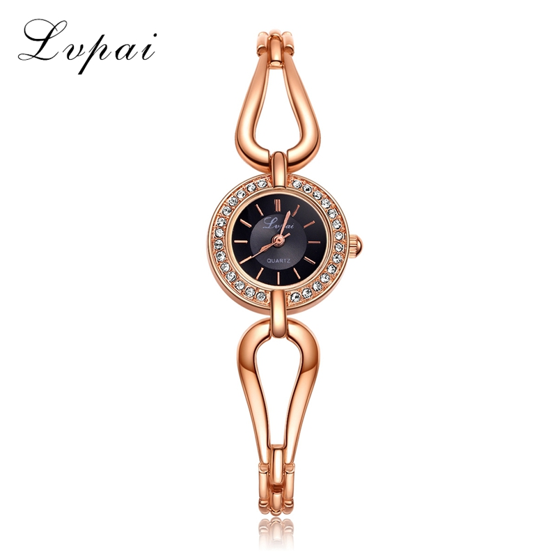 2017 New Arrive Lvpai Brand Rose Gold Women Bracelet Watch Fashion Simple Quartz Wrist Watches Ladies Dress Luxury Gift Clock cnc lathe morse taper shank drill chucks 1 13mm b16 key drill chuck with arbor mt4 4 morse taper shank