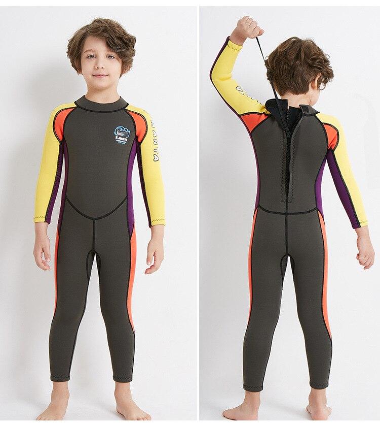 fe7f4462a3 Details about 2.5mm Neoprene Wetsuit Children Diving Wet Surf Suit Wiinter Swimwear  One-piece