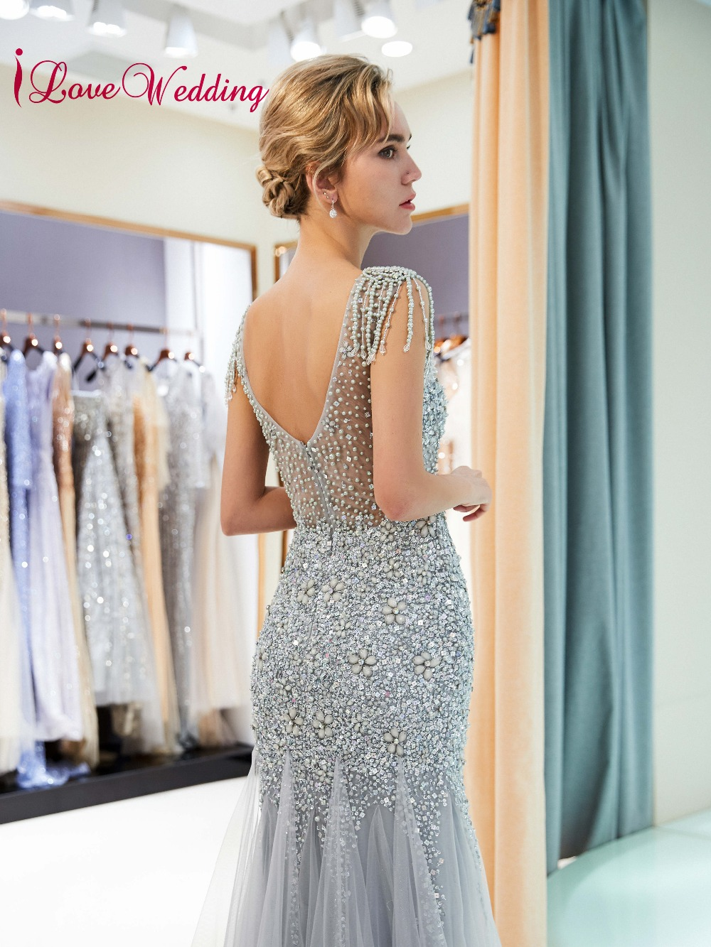 9f1ddafe62f75 iLoveWedding Most Beautiful 2018 Heavy Beadings Silver Tulle Custom made  Mermaid Sheer Back Sexy Long Evening Gowns Abiye