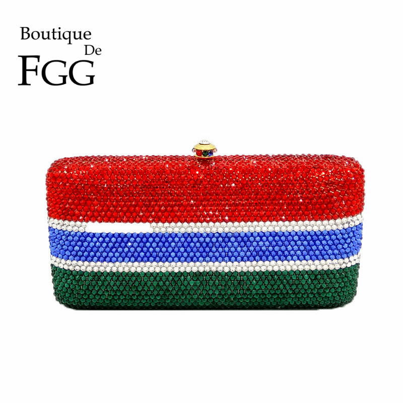 Boutique De FGG Customized National Flag Women Crystal Evening Bags Metal Clutches Minaudiere Wedding Party Handbags