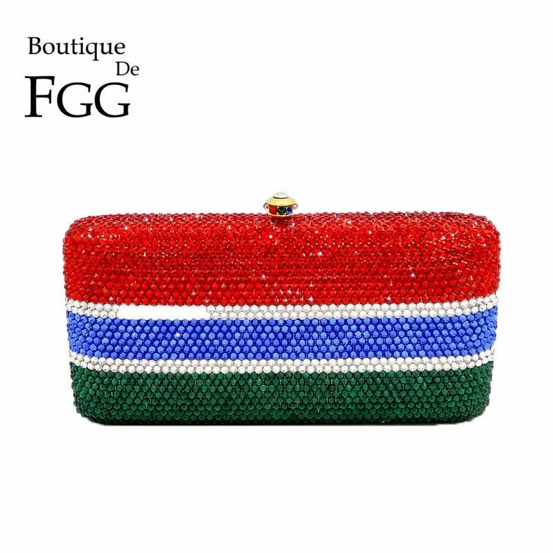 Gambia National Flag Mini Crystal Minaudiere Handbag Women Evening Metal Clutches Bags Bridal Wedding Party Box Clutch Purse