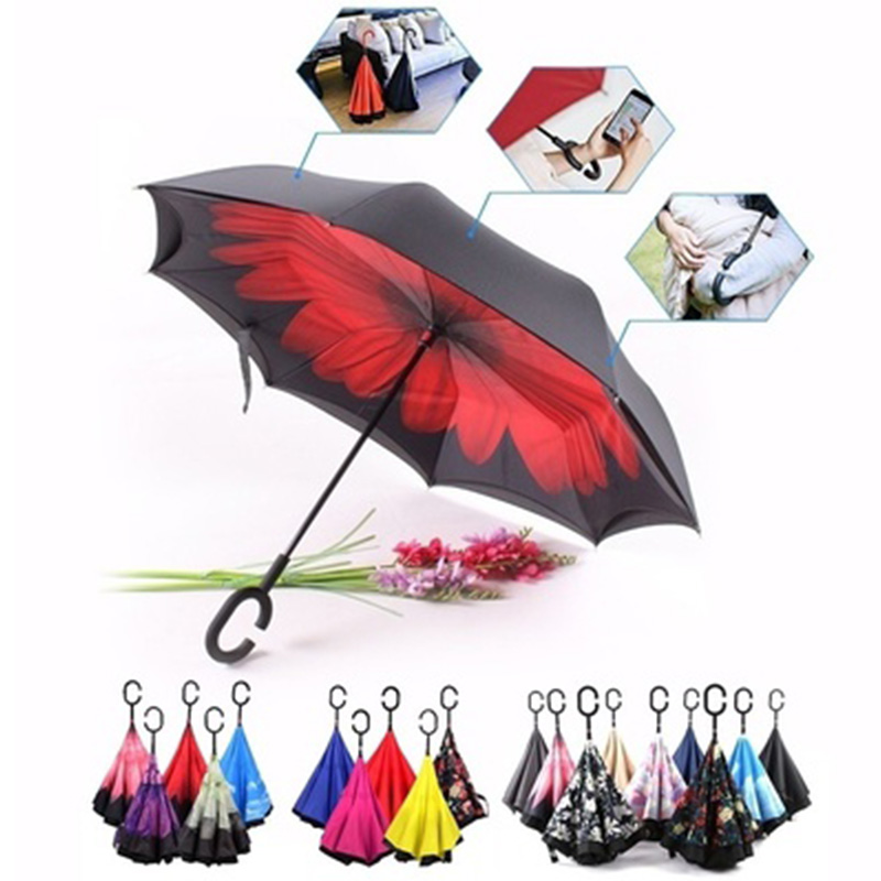 Camellia Nubrella Hands Free Hands Free Umbrella Red Walking Stick Beach Sunshade C Shape Handle Inverted