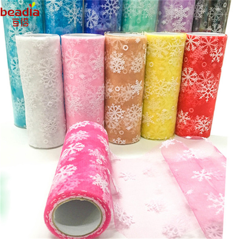 15cmx10Yard Snowflake Organza Sheer Gauze Element Table Runner Tissue Tulle Roll Spool Craft Party Wedding Decoration