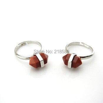 P6100992 kamień leczniczy Goldsand Nugget pierścień zakończone Goldsand pierścień srebrny regulowany pierścień