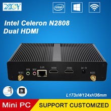 Xcy офис мини pc intel celeron n2808 dual-ядер 2 * hdmi бизнес мини-компьютер htpc barebone безвентиляторный настольный pc windows 10