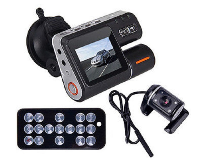 Car DVR HD DVR 120 Car Dash Cam Recorder 720P Dual Camera Cam Recorder LED Night Vision 2 Inch TFT LCD Remote Control