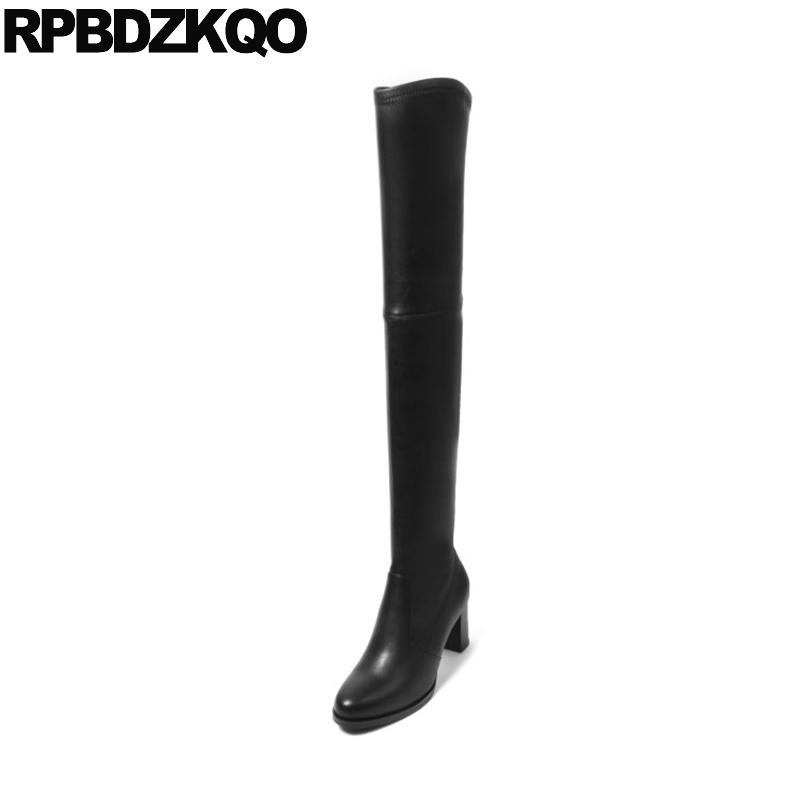 Black Long Chunky Round Toe Boots Luxury Brand Shoes Women High Heel Slip On Over The Knee Sexy Stretch Slim Real Leather Fall 2015 hottest drop shipping vintage round toe strappy zip knee high boots studs chunky heel leather boots women high heels j459