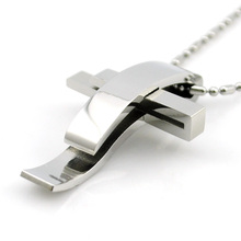 ATGO Cross Stainless Steel Pendant Necklace Men Women Chain Murano Christian Jewelry Christmas Gifts Wholesale